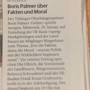 ***ACHTUNG***Der Vortrag von Boris Palmer *** AUSGEBUCHT